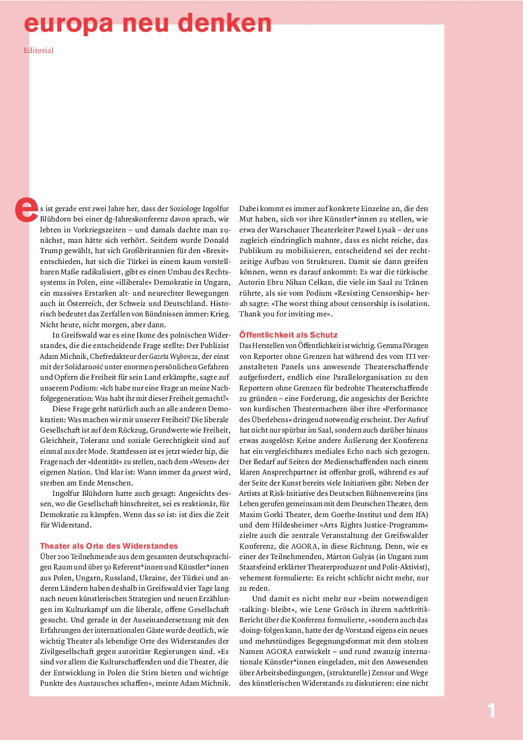 Thumbnail zum PDF: Dramaturgie 2018/2<br /> Dramaturgien des Widerstands. Internationale künstlerische Positionen zu Freiheit und Unfreiheit.<br />